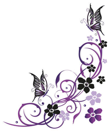 Summer flowers with butterflies, pink and purple vector design.