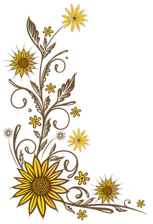 grasses: Colorful summer flowers, vintage sunflowers and leaves. Illustration