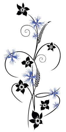 Colorful summertime flowers, cornflowers, black and blue vector design. Illustration