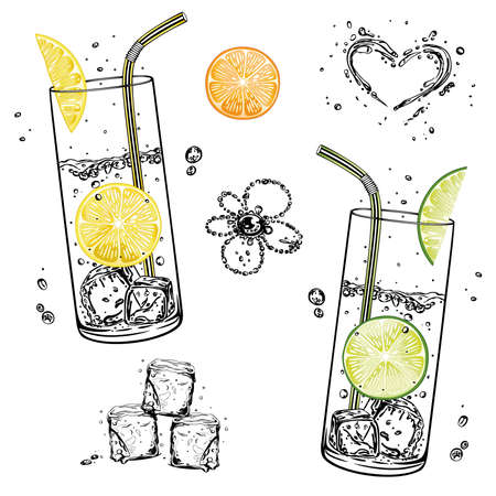Set with water glasses, lemonade with fruits and ice cubes Illustration