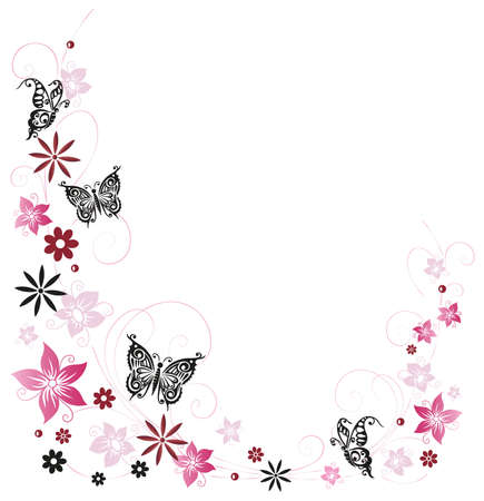 Pink summer flowers with butterflies, pastel