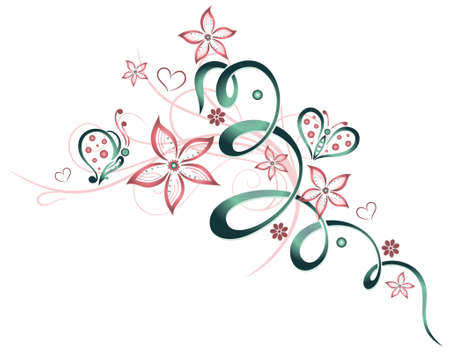 Flowers with butterflies, candy canes color, floral vector design