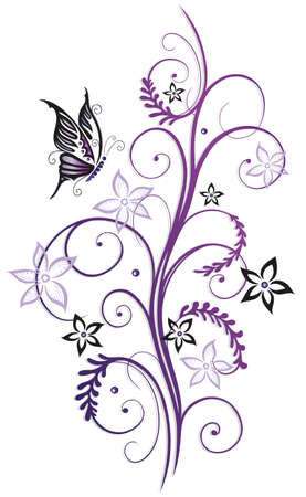 Purple and black summer flowers with butterfly Illustration