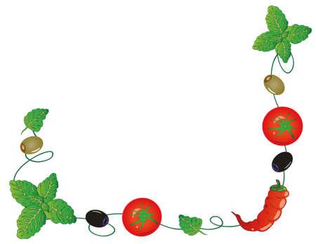 albahaca: Decoración con hierbas italianas, verduras y especias