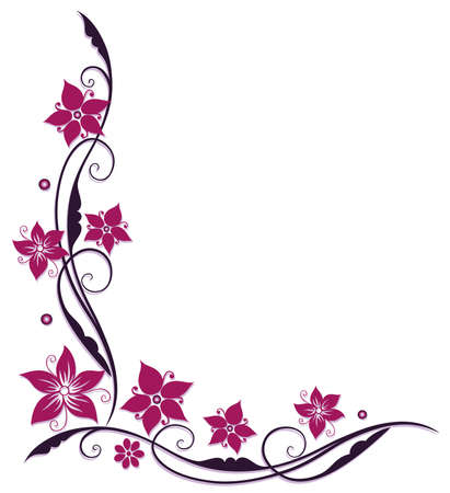 Pink and purple flowers, filigree vector design