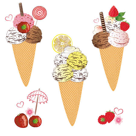 Ice cream with waffle and fruits, vector set Illustration