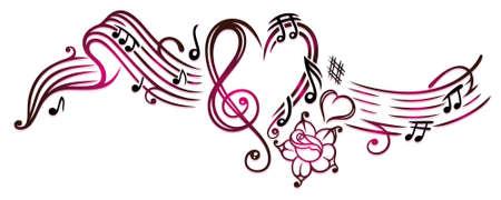 Musiknoten mit Notenschlüssel, Rose und Herzen, Kirschrot.