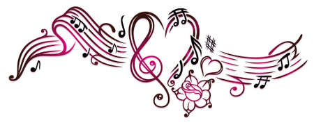Music notes with clef, rose and hearts, cherry red. Illustration