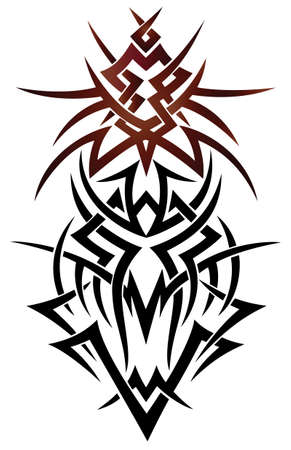 tribal dragon: Abstract fantasy dragon, tribal and tattoo style. Illustration