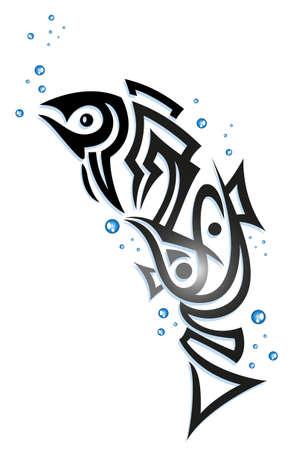 Big Tribal Fische mit Blasen, abstrakte Vektor-Design.