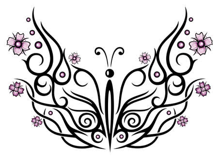Big Schmetterling mit Kirschblüten, Tribal und Tattoo-Stil.