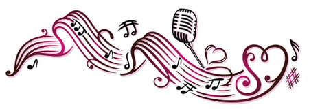 Musiknoten mit Mikrofon und Herzen, Kirschrot.