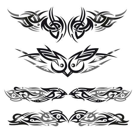 Tribal Set mit abstrakten, metallischen Elementen, Vektor-Vögel.