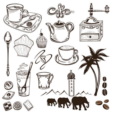 Coffee and cocoa vector set, vintage style. Illustration