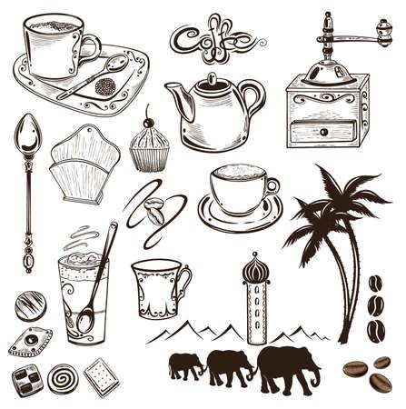 Kaffee und Kakao Vektor-Set, Vintage-Stil.