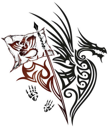 Drachen mit Flügeln und Fahne, Fantasieentwurf, Tribal und Tattoo-Stil. Illustration