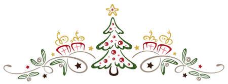 Bunte Weihnachtsdekoration, Weihnachtsbaum mit Mistel.