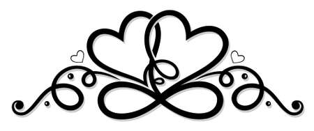 Infinity with two hearts, symbol of love
