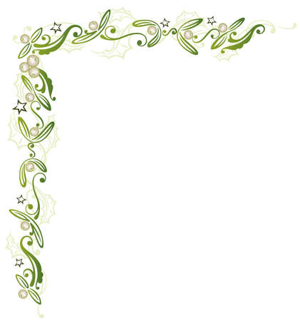 Mistletoe with holly and stars, Christmas decoration.