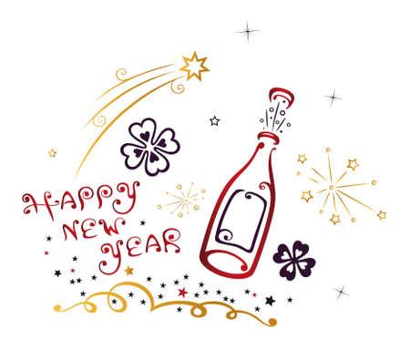 Frohes Neues Jahr Vektor, neues Jahr und Party-Dekoration.