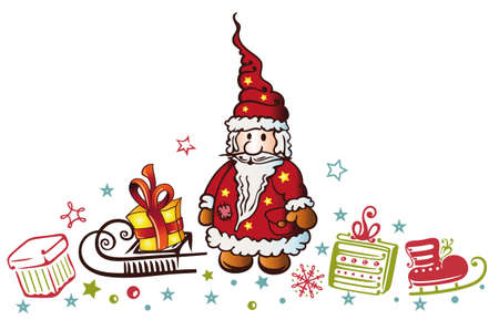Santa Claus with sleds and gifts