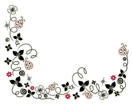 Neujahrsgirlande mit Klee, Blumen und Marienkäfer