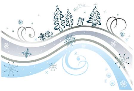 Gefrorene Schnörkel mit Schneeflocken, bunte Winter Illustration