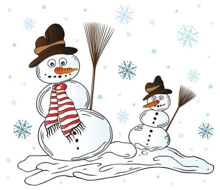 Schneemann mit Schneeflocken, bunter Winter Illustration Illustration