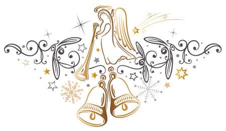 Goldener Engel mit Glocken und Mistel Illustration
