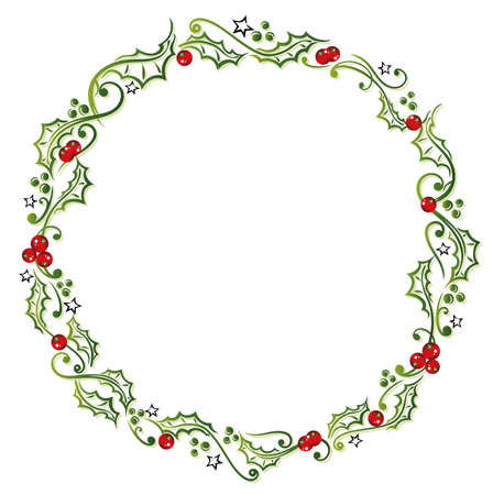 Holly wreath with berries and stars. Illustration