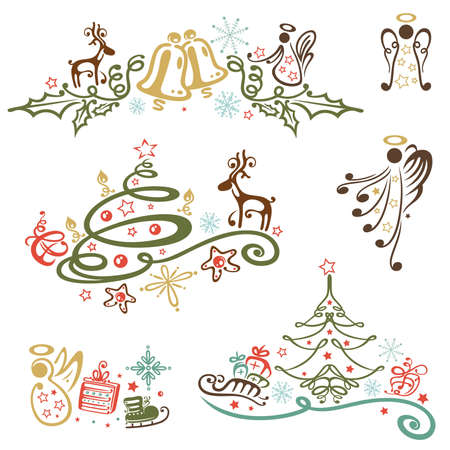 Christmas vector design elements, vintage style