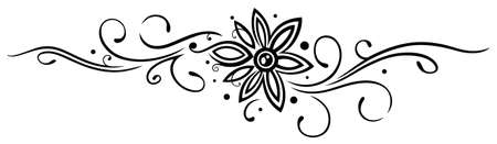 Rebe mit filigranen große Blume, Tattoo-Stil.