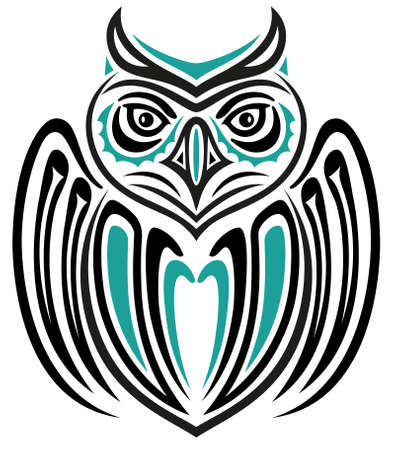 Abstract fantasy large owl, Haida style