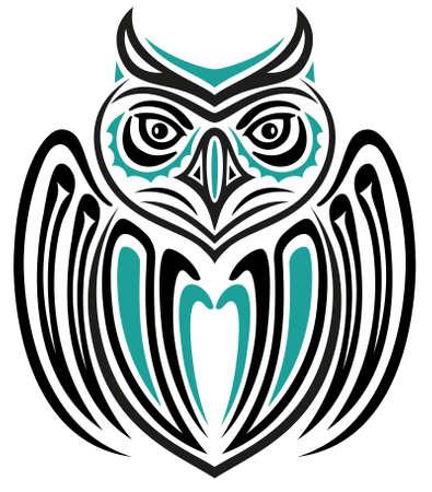 Abstrakte Fantasie große Eule, Haida-Stil Illustration
