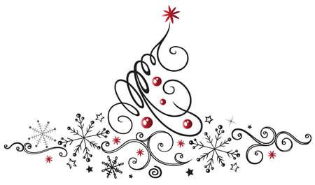 Abstrakter Weihnachtsbaum mit Schneeflocken und Sternen