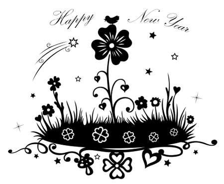 Frohes neues Jahr, Wiese mit Klee und Blumen Illustration