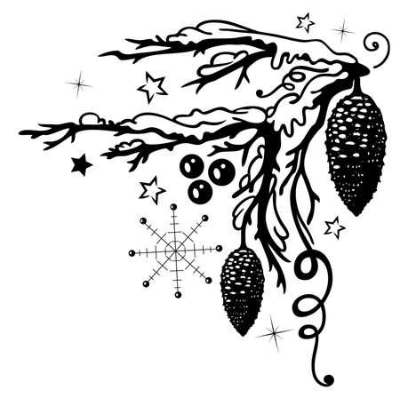Weihnachten, Zweig mit Tannenzapfen und Schnee.