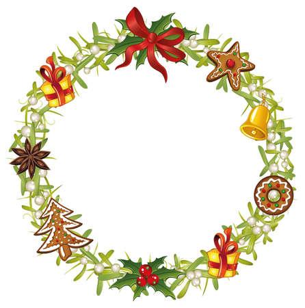 Weihnachtskranz mit Mistel, Lebkuchen, Stechpalme und Glocke.