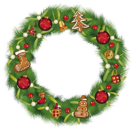 Christmas wreath with fir gingerbread, and decoration.