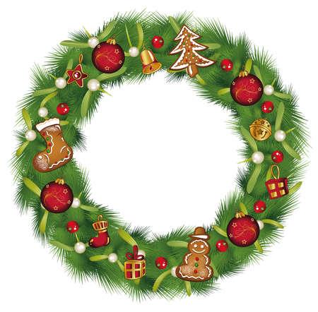 Weihnachtskranz mit Tannen Lebkuchen und Dekoration.