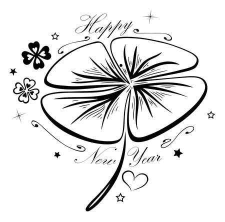 Happy New Year, big shamrock with new year symbols.