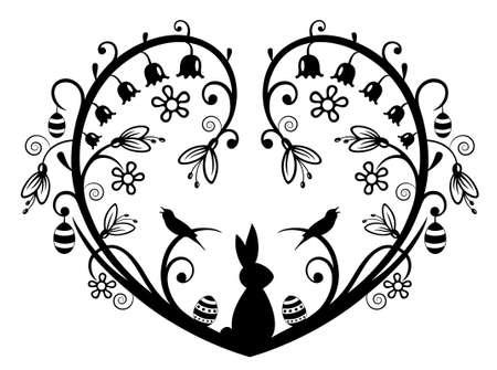 Herz Silhouette mit Hase, Ostereier und Blumen