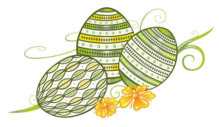 Filigree easter eggs with flowers, springtime
