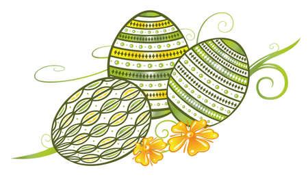 springtime: Filigree easter eggs with flowers, springtime
