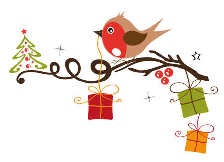 gift season: Robin on a branch with gifts, snow and christmas tree