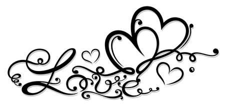 Valentinstag Dekoration mit Schriftzug und zwei Herzen Illustration