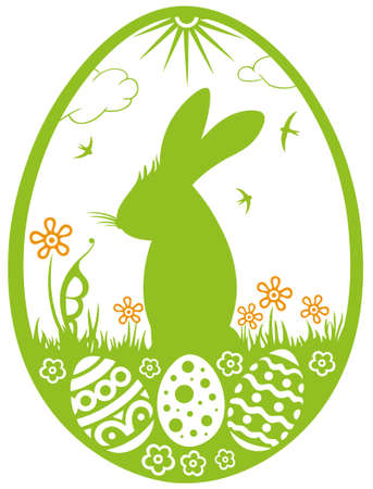 Bunny silhouette with meadow, easter eggs and flowers