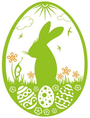 Häschen-Silhouette mit Wiese, Ostereier und Blumen Illustration