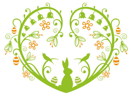 Colorful Easter heart with Easter bunny and eggs, green and orange.