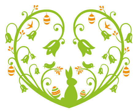 Bunte Ostern Herz mit Osterhase und Eier, grün und orange